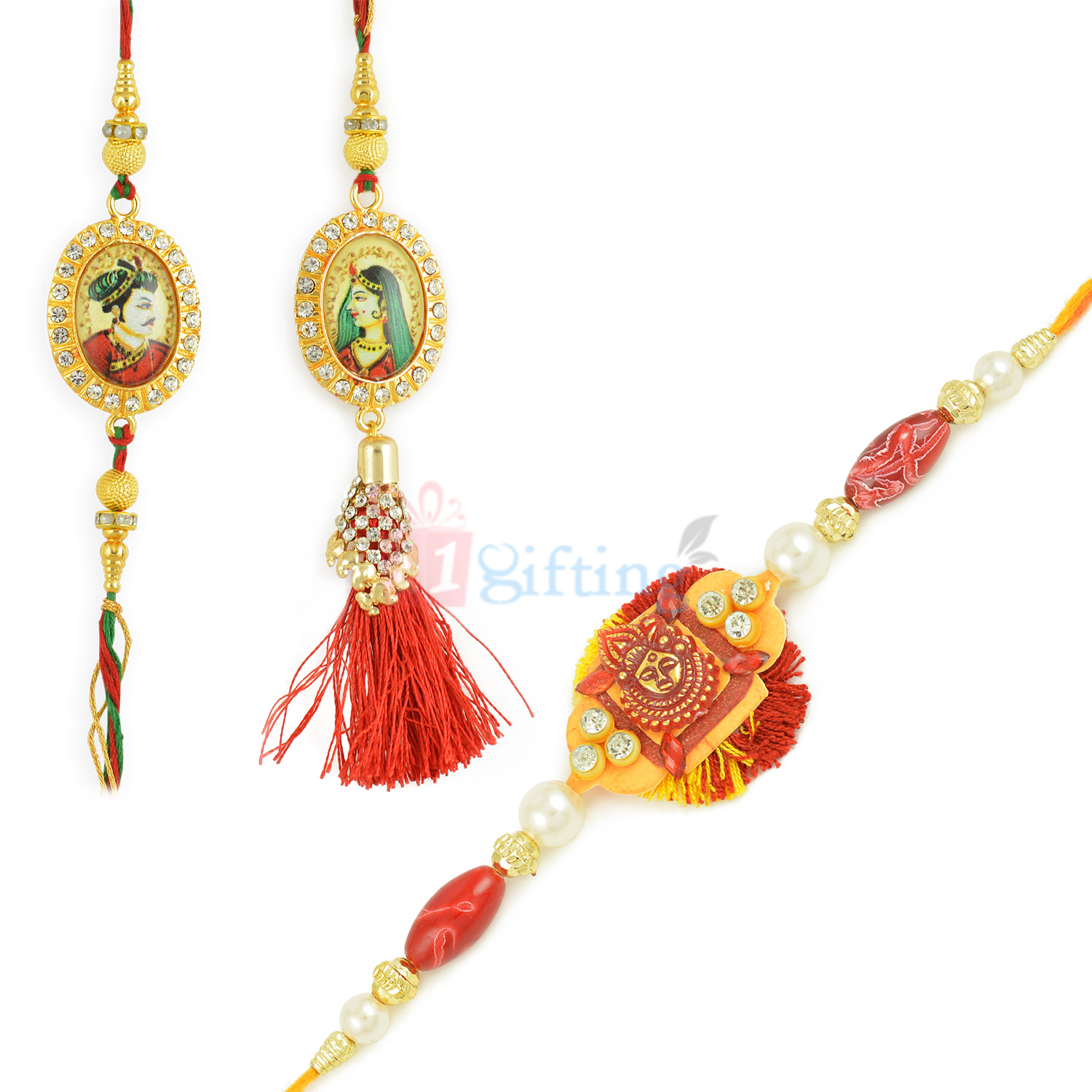 Majestic His Highness and Her Highness Rakhi Set of 3