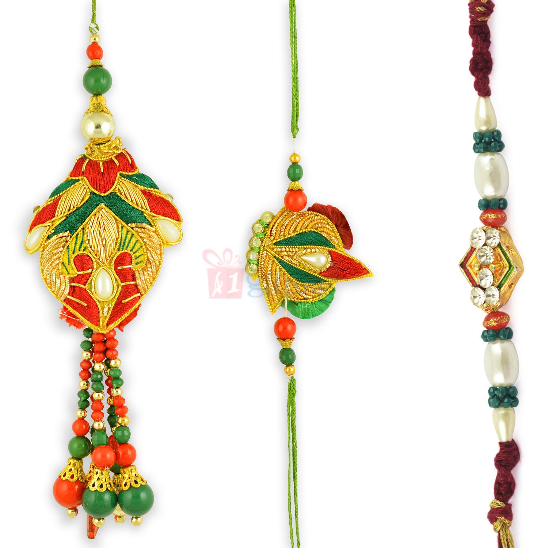Superb Attractive Zardosi work Rakhi Set of 3 Rakhis