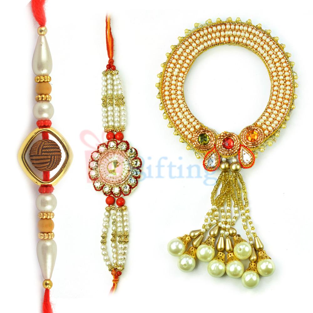 Dazzling Pearl Kangan with 2 Pearl Work Rakhi Set of 3