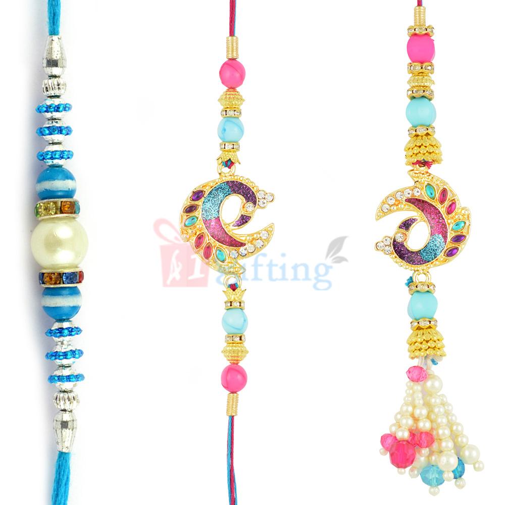 Appealing Pearl Colorful AD Work Rakhi Set of 3 Rakhis