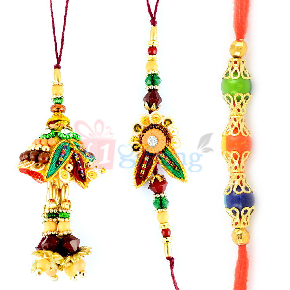 Eye Catching Colorful Beads Zardosi Rakhi Set of 3 Rakhis