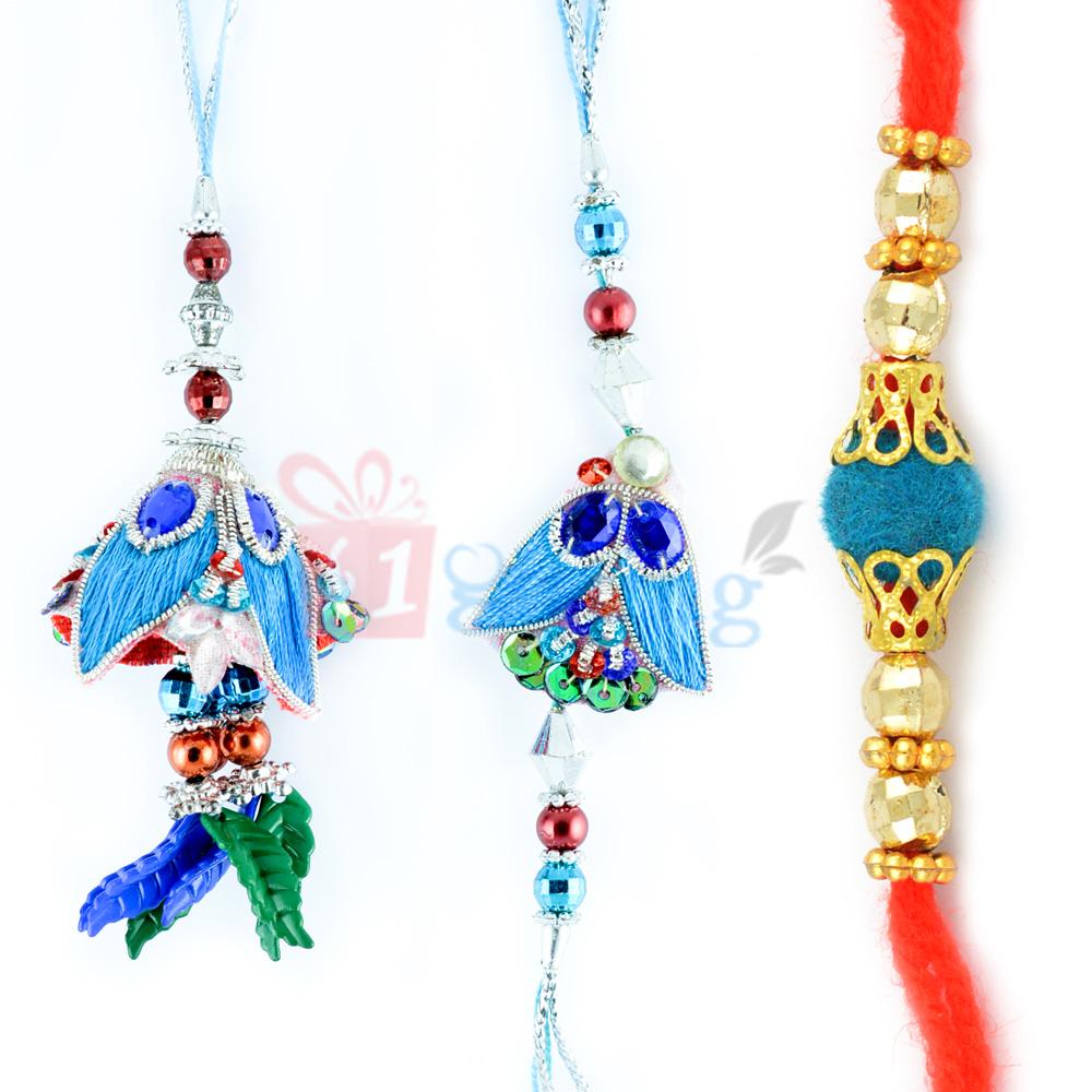 Exclusive Golden Beads Rakhi with Blue Zari Rakhi Pair