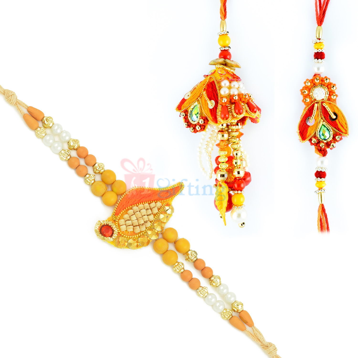 Gracefully Designed Sandalwood Lumba and 2 Rakhi for Brother