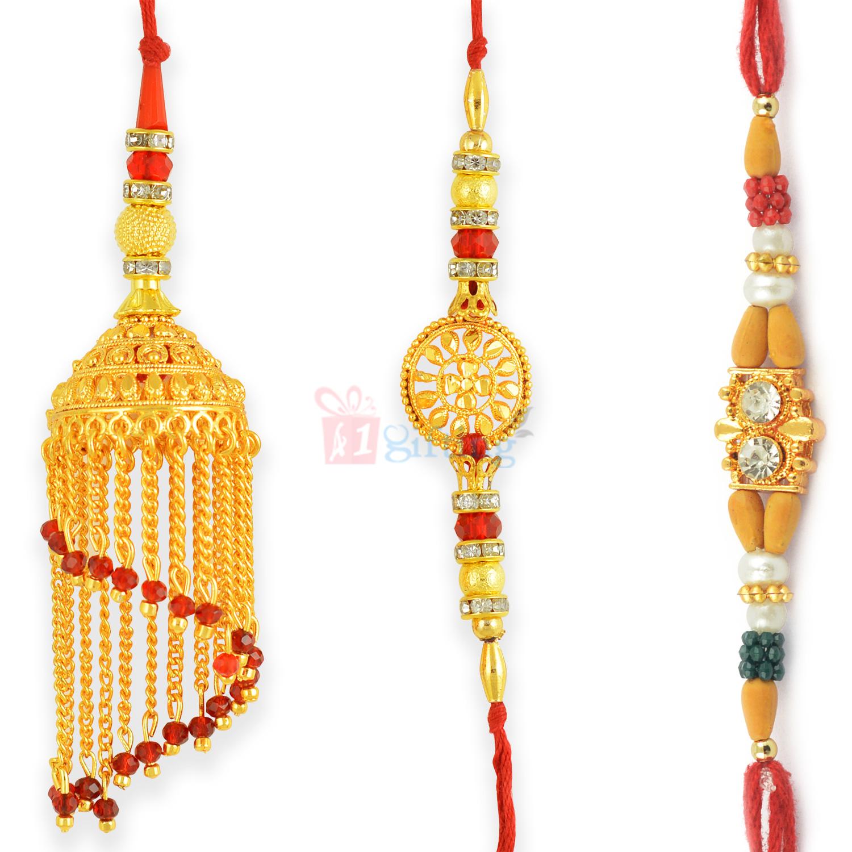 Tremendous Rajasthani Style Golden Theme Beads Rakhi Set