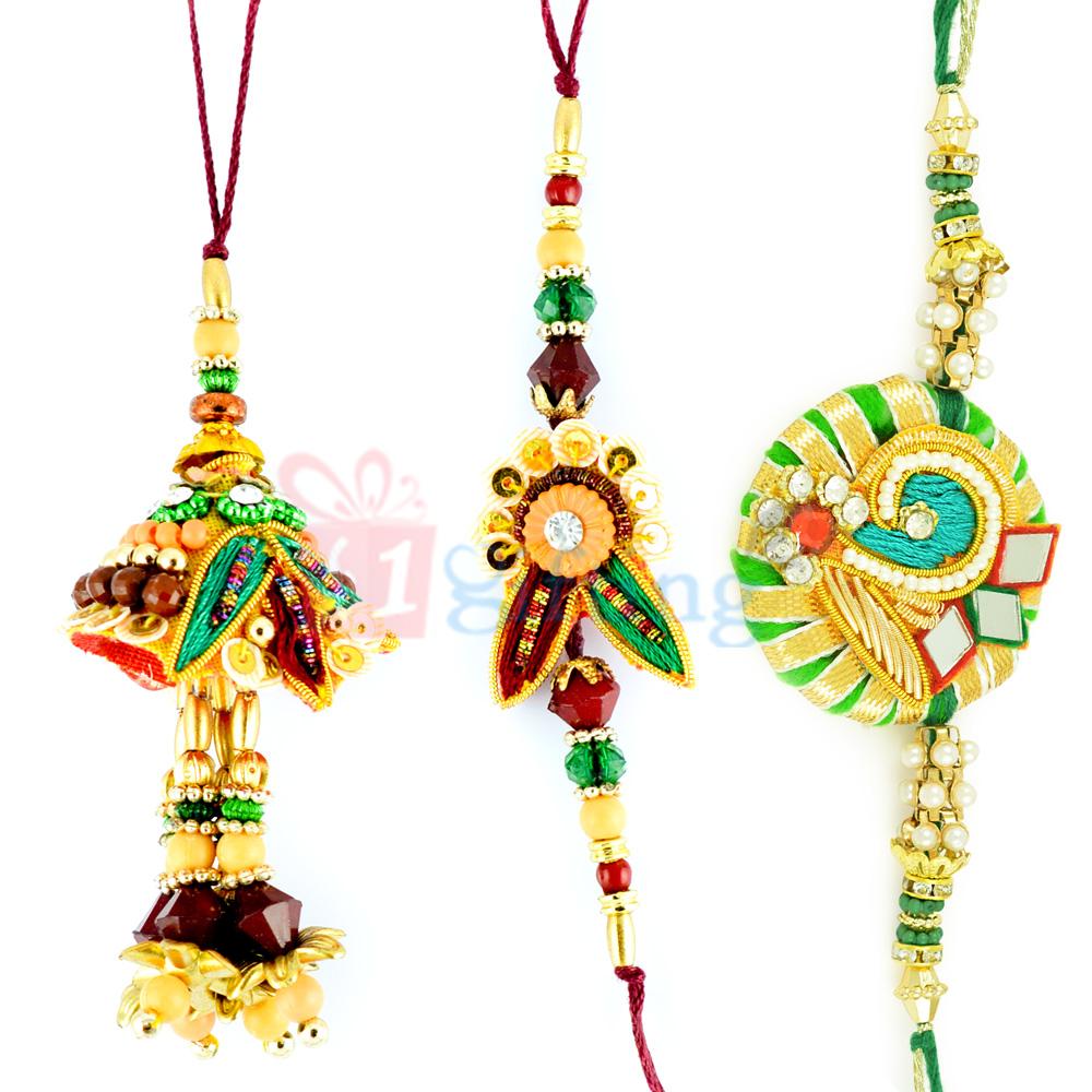 Induni Style Gotta Zari Work Rakhi and Glass Beads Rakhi Set