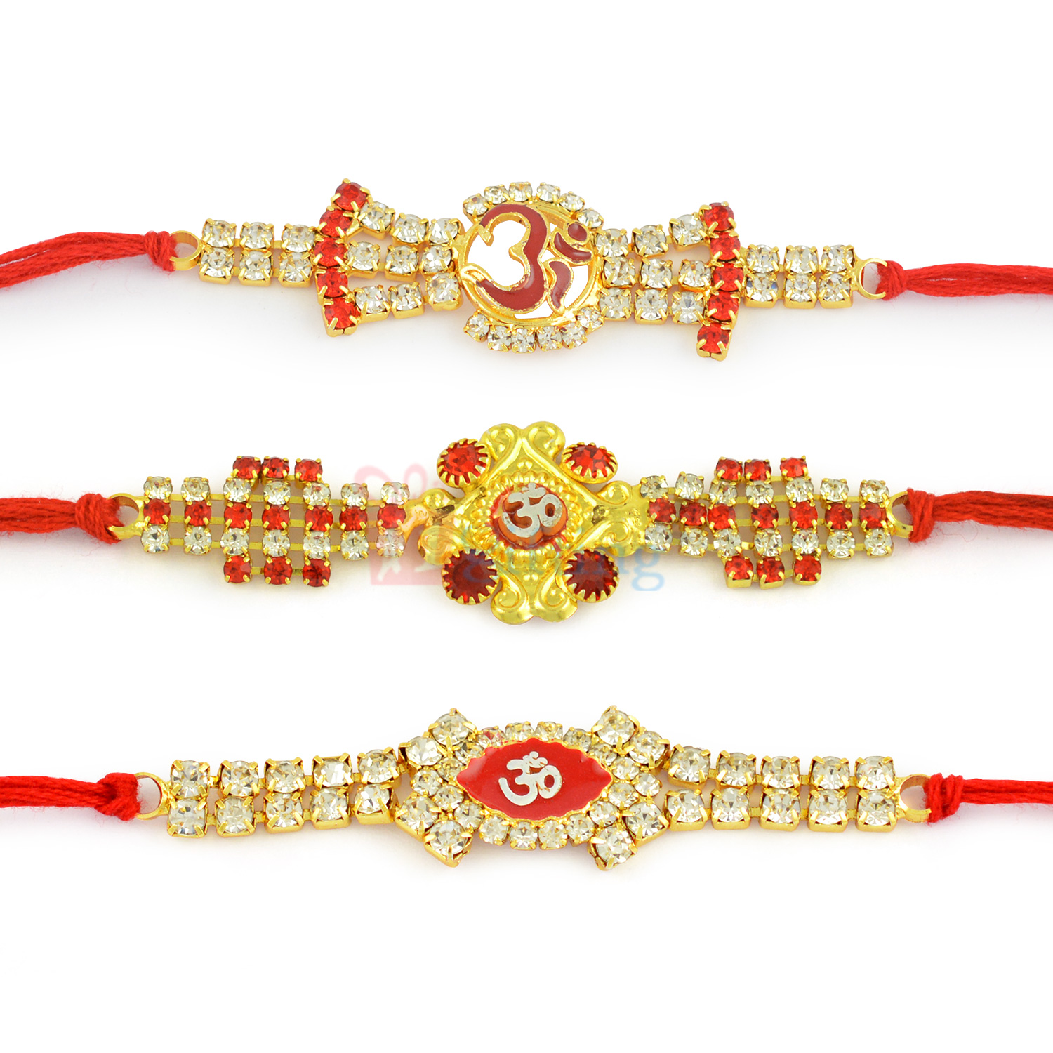 Wonderful 3 Designer Diamond Rakhi with OM Divine Symbol
