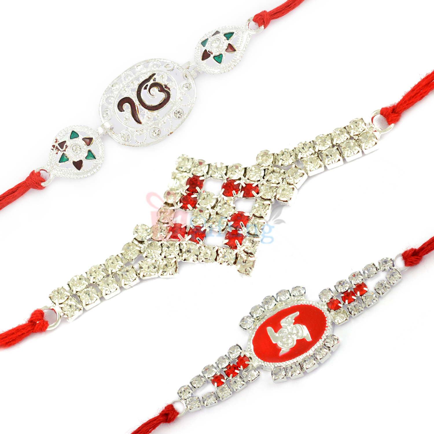 Magnificent Diamond Silver God Set of 3 Rakhis for Brother
