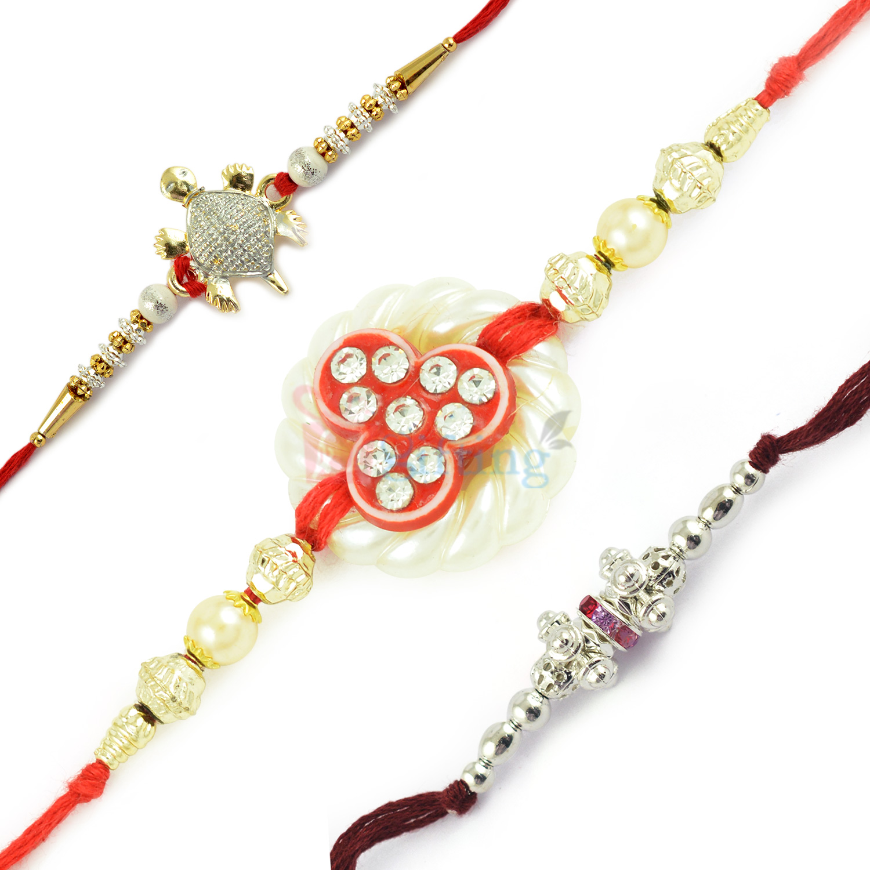 Dazzling Pearl Silver Ghunghru and Good Fate Tortoise Rakhi Set