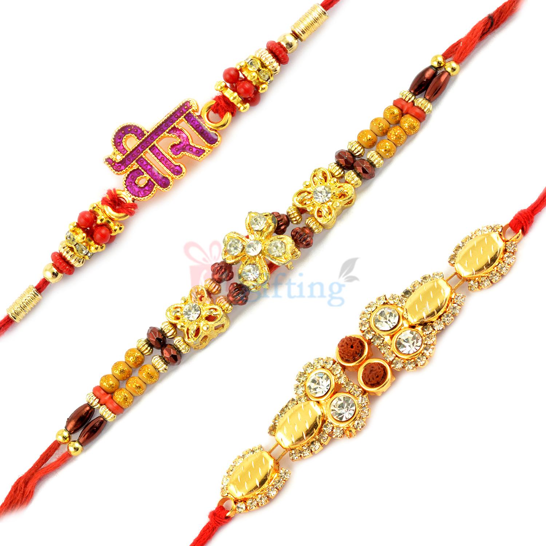 OutStanding Golden Beaded and VEERA Rakhi Set of 3