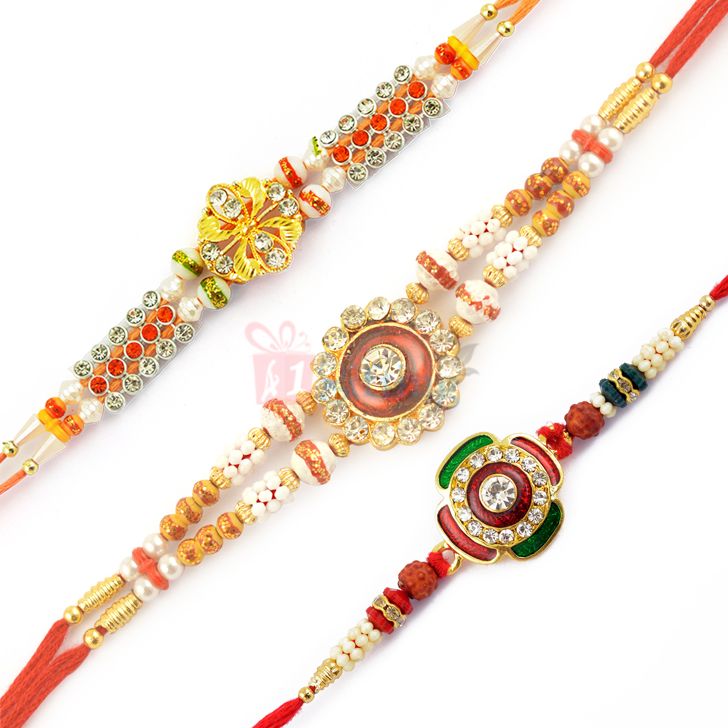 Eye Catching Kundan Meena Rakhi Set of 3 Diamond Rakhis