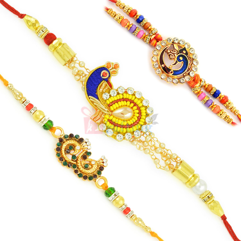 Pleasing Meena Work and Colorful Zardosi Rakhi Set of 3