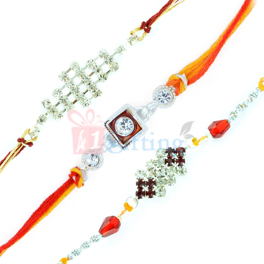 Smartly Collected Special Diamond Rakhi Set of 3