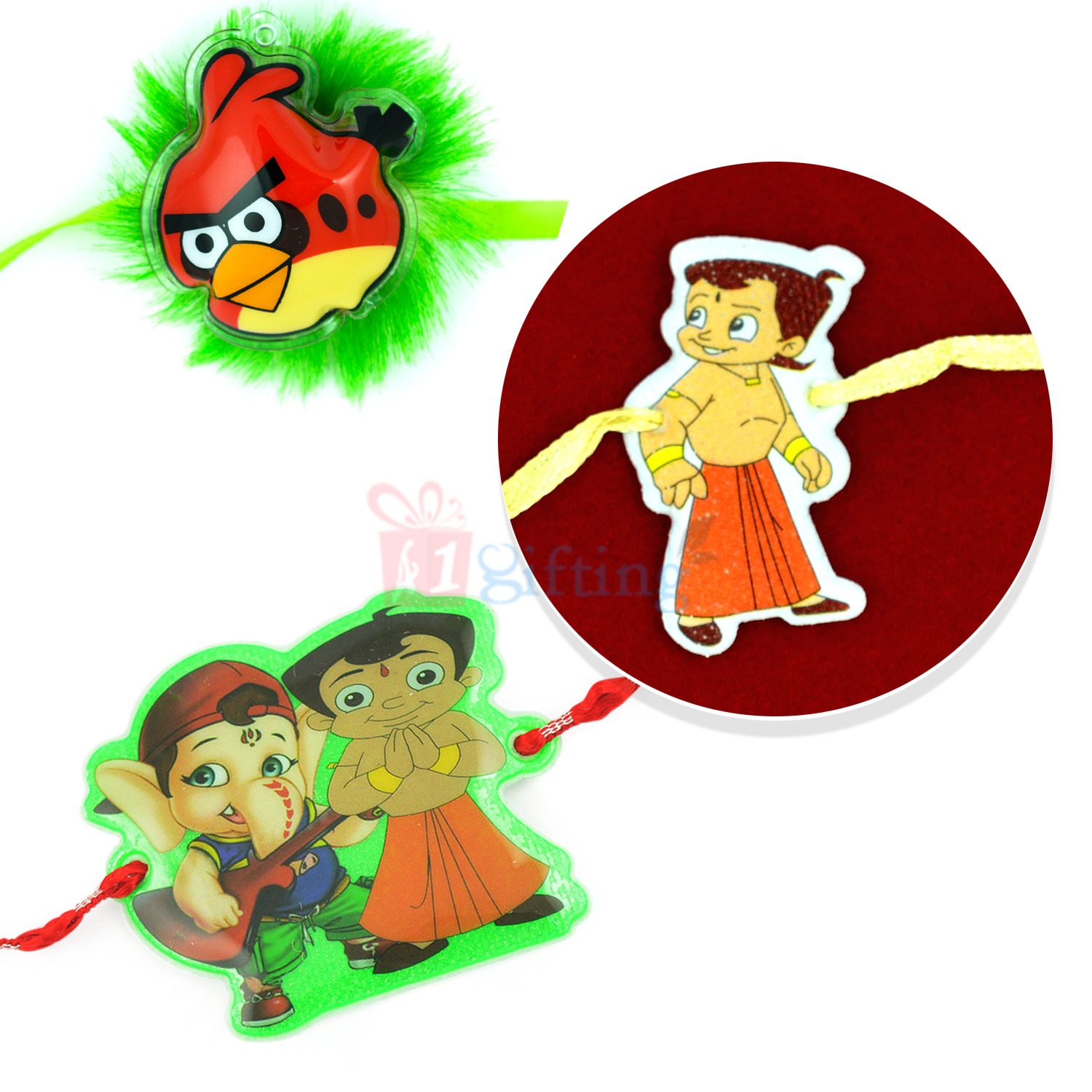 Artistic and Colorful Designer Kids Rakhi Set of 3 Rakhis