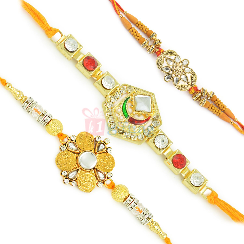 Artistic Golden Work Kundan Beads n Stone Rakhi Set