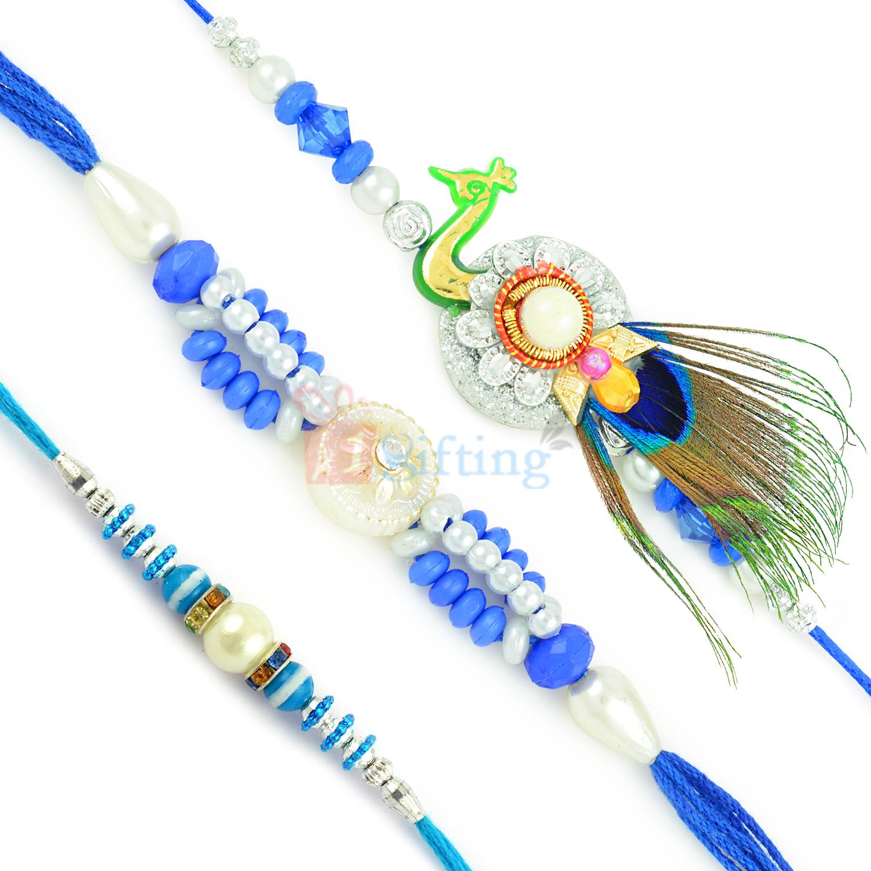 Classy Finish Designer Peacock and Colorful Beads Rakhi Set