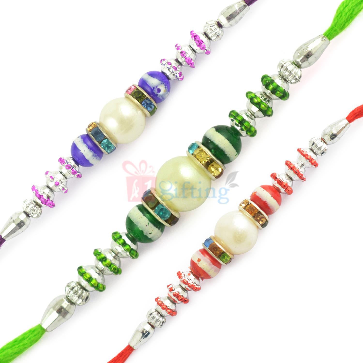 Artistic Silver and Pearl Designer Beaded Rakhi Set of 3