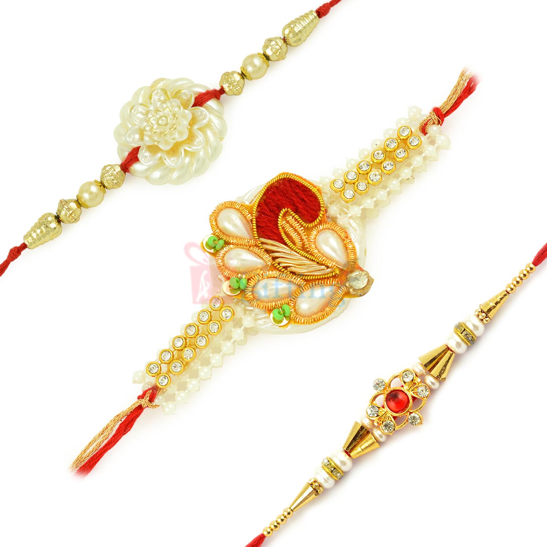 Decorative Rakhi Set of 3 with Pearl Flower n Zari Work