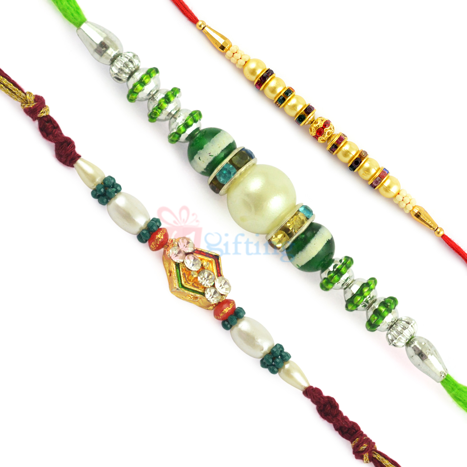 Terrific Golden Pearl Beads and Colorful Stone Work Rakhi Set