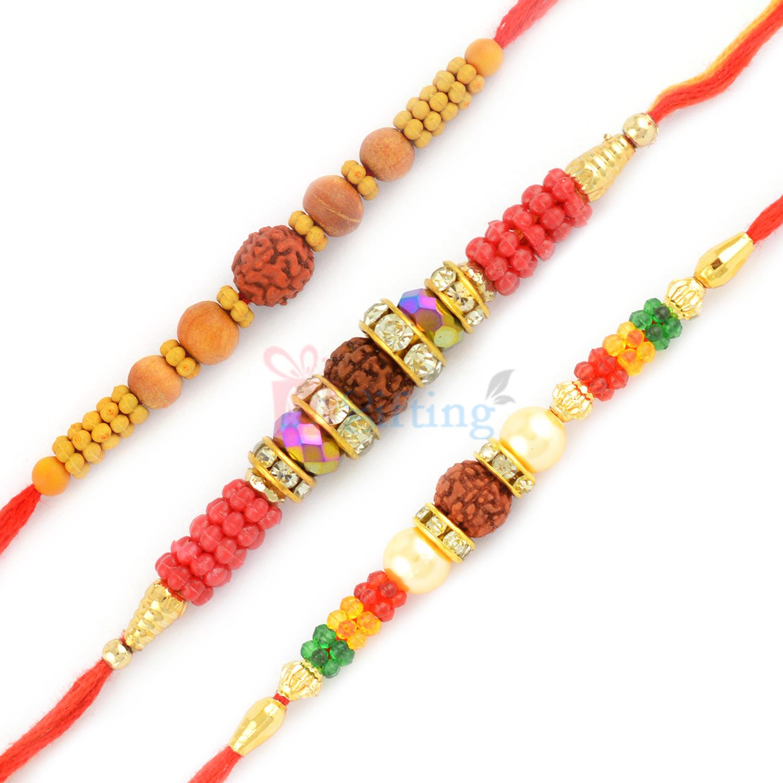 Remarkable 3 Rudraksh Rakhi Set with Colorful Beads