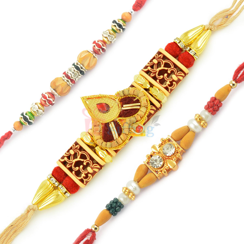 Superb Chanadan Tilak Designer Silver Diamond Beads Rakhi Set
