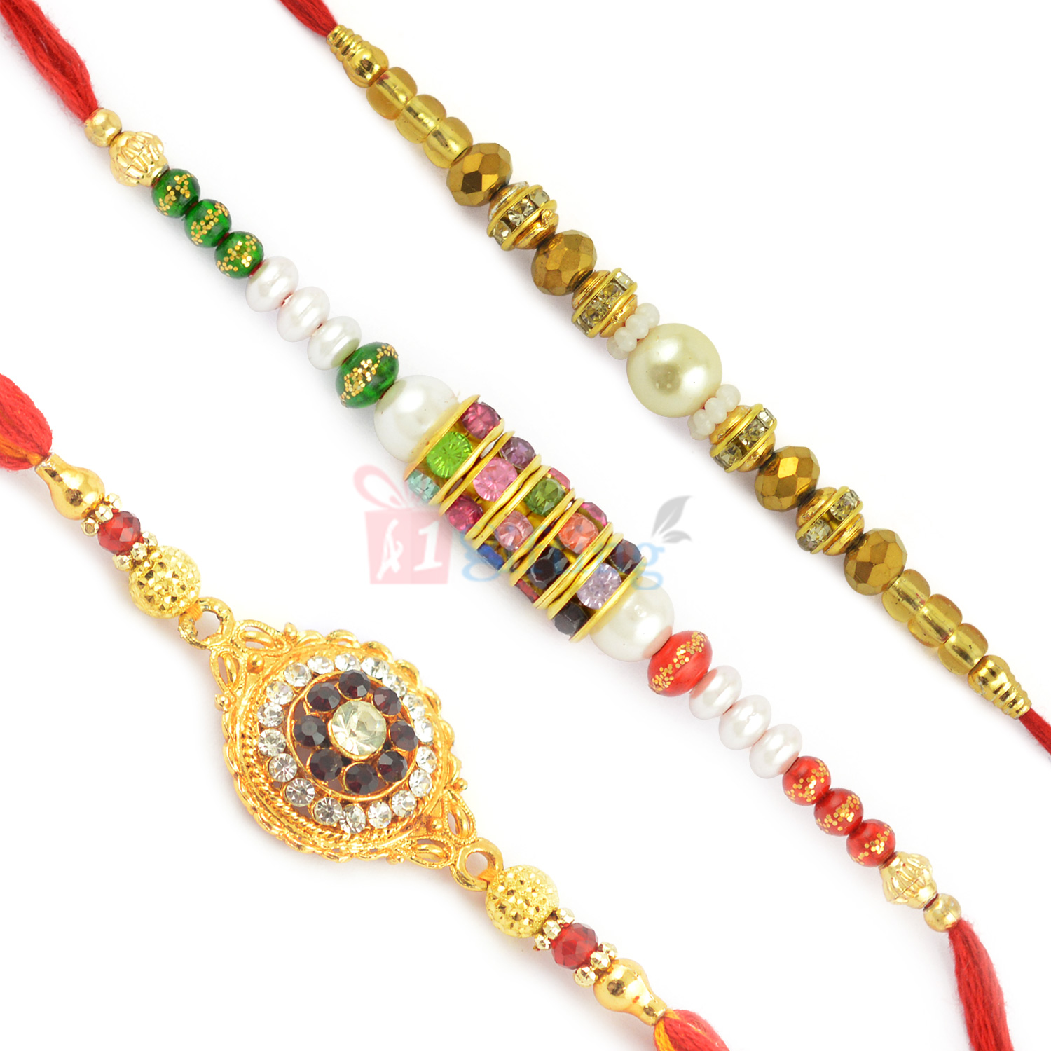Pretty Collection of 3 Pearl Diamond and Goldend Beads Rakhis