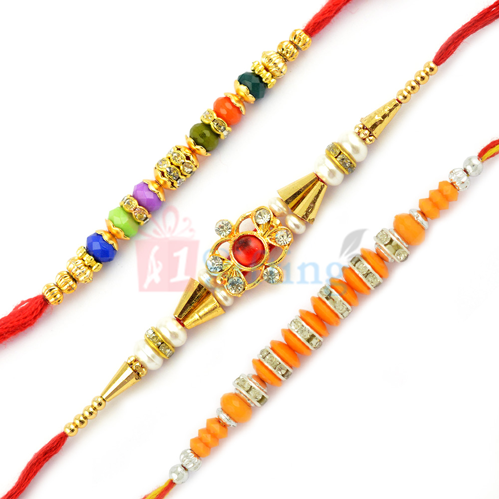 Delightful Multicolor Stone Beads Rakhi Set of 3 Rakhis