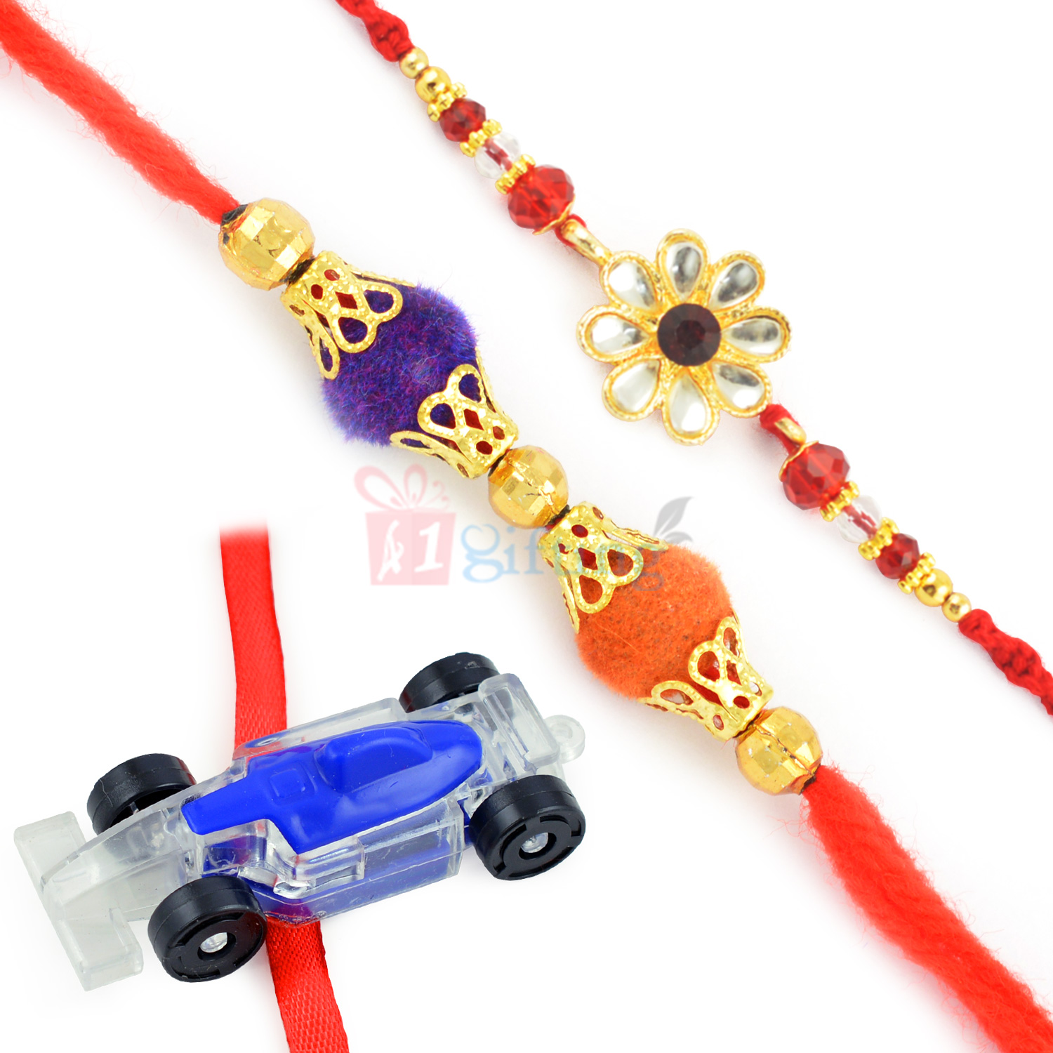 Attractive Kundan Rakhi Thread and Kids Rakhi Set
