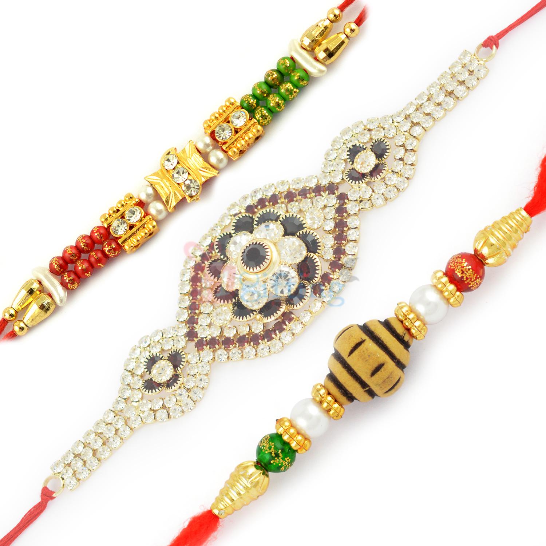 Exclusively Designed Jewel Rakhi and Pearl Beaded Rakhi Set
