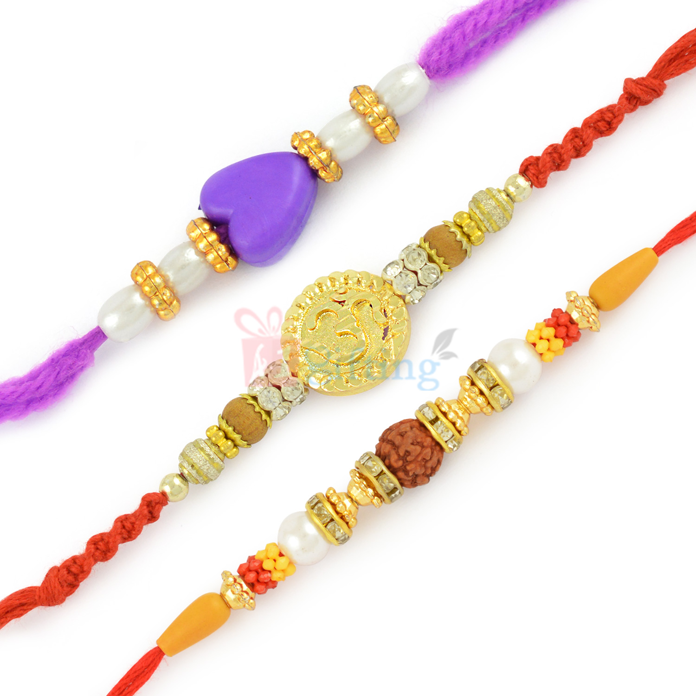 Shimmering Golden OM Rakhi with Rudraksh and Heart Shape Rakhi