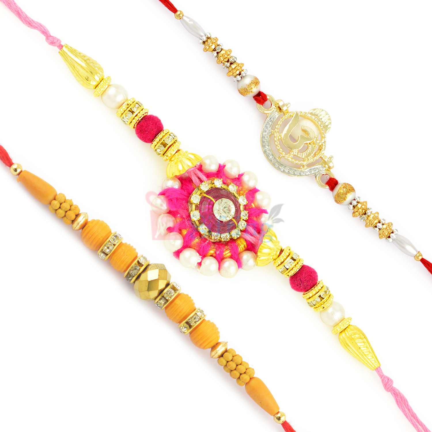 Gracefully Fitted OM Pearl Beads and Stone Work Rakhi Set