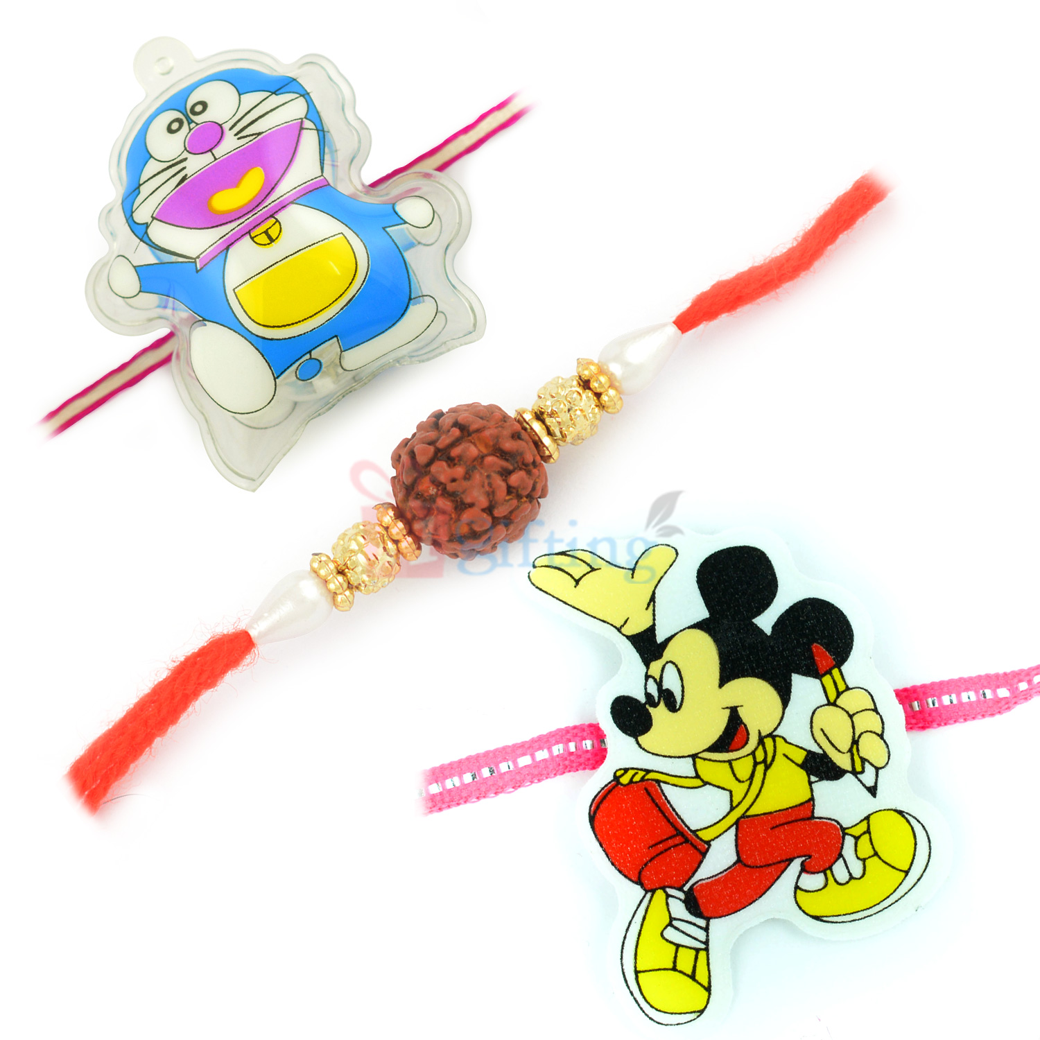 Mighty Doramon and Micky with Divine Rudraksh Rakhi Set