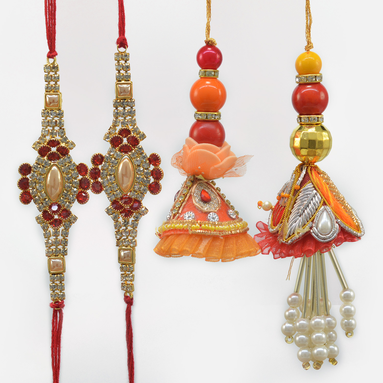 Pearl and Jewel Studded Two Brother Rakhis with Two Lumba Rakhis Set of 4
