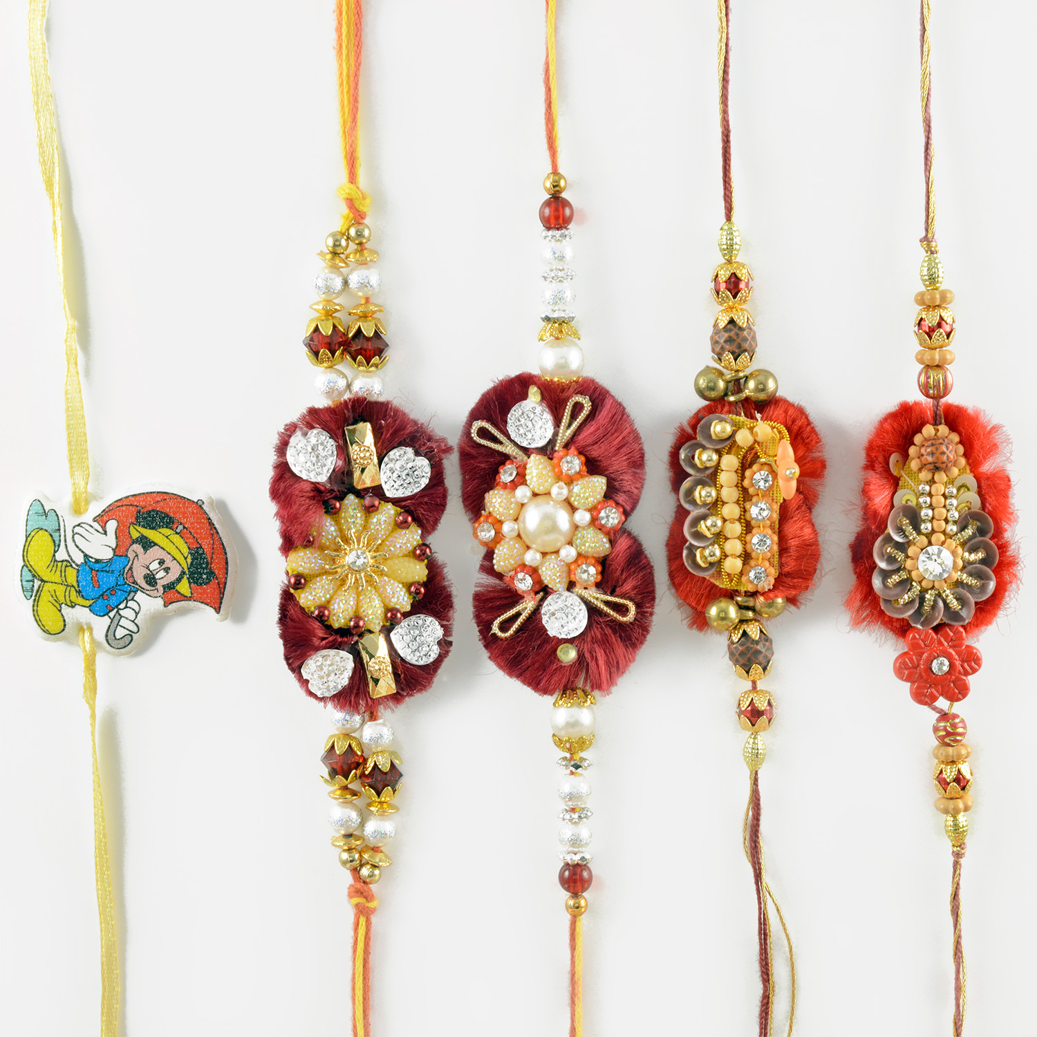 Good-Looking Flower Design and Mickey Mouse Rakhi