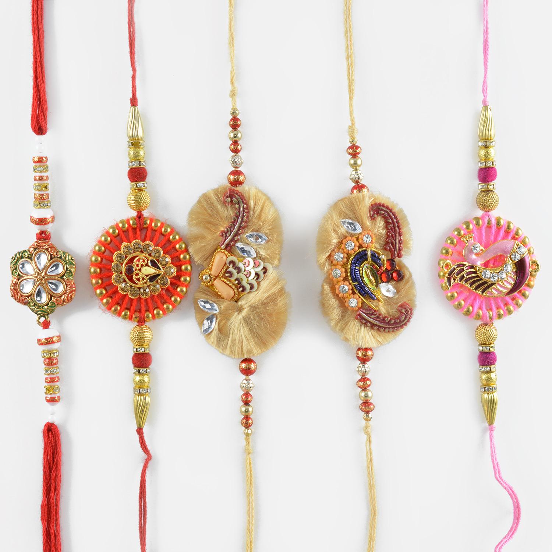 Beautiful Designer Rakhi Set of 5