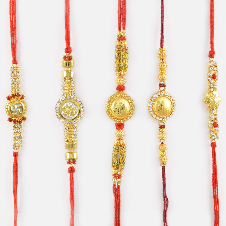 Gold and Diamond Studded Ganesh Ji and Swastik Rakhi Set of 5