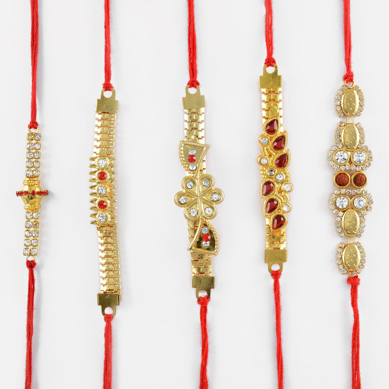 Designer Golden Beads and Diamond Rakhi Set of 5