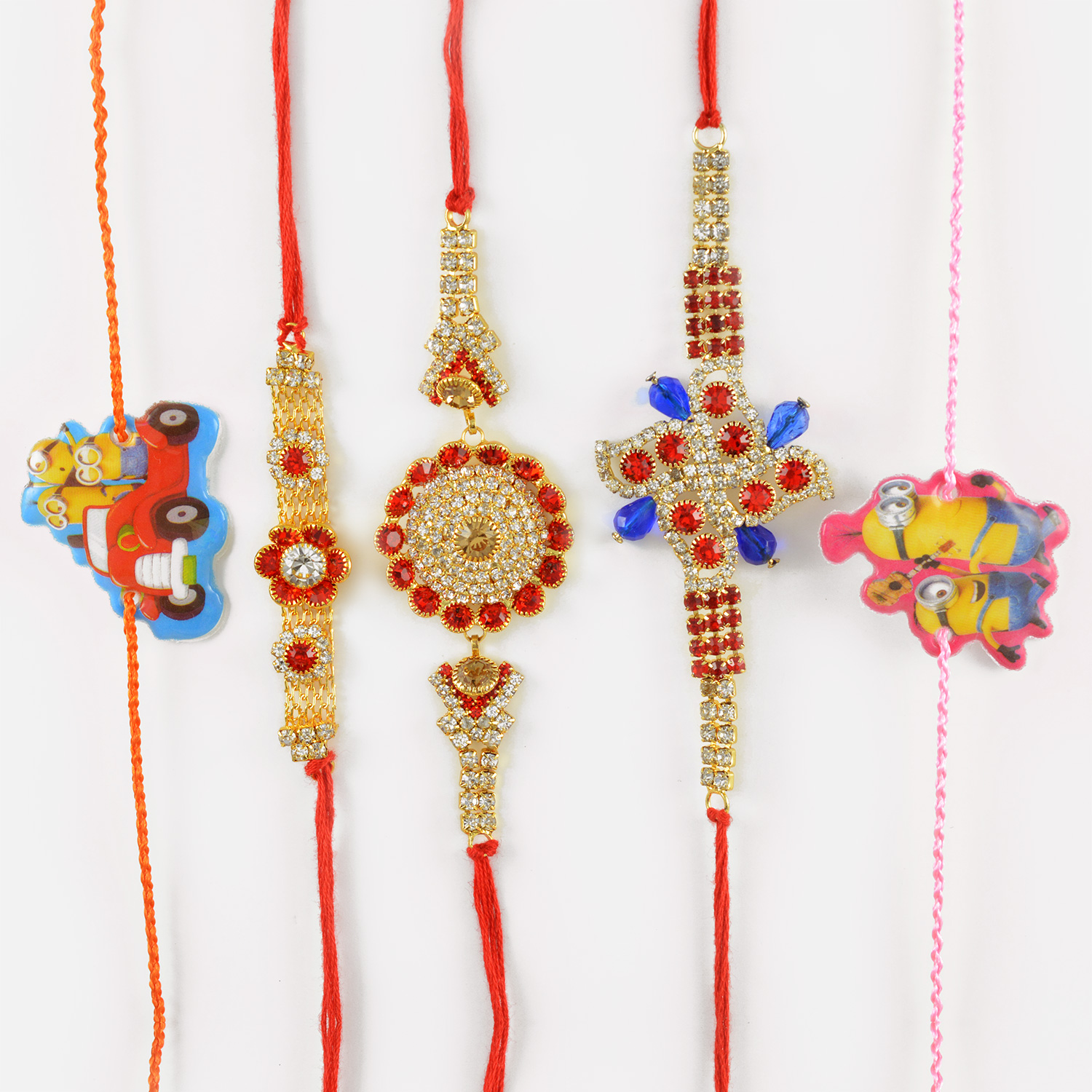 Authentic Diamond and Twin Rakhi for Kids in a Set of 5 Rakhis
