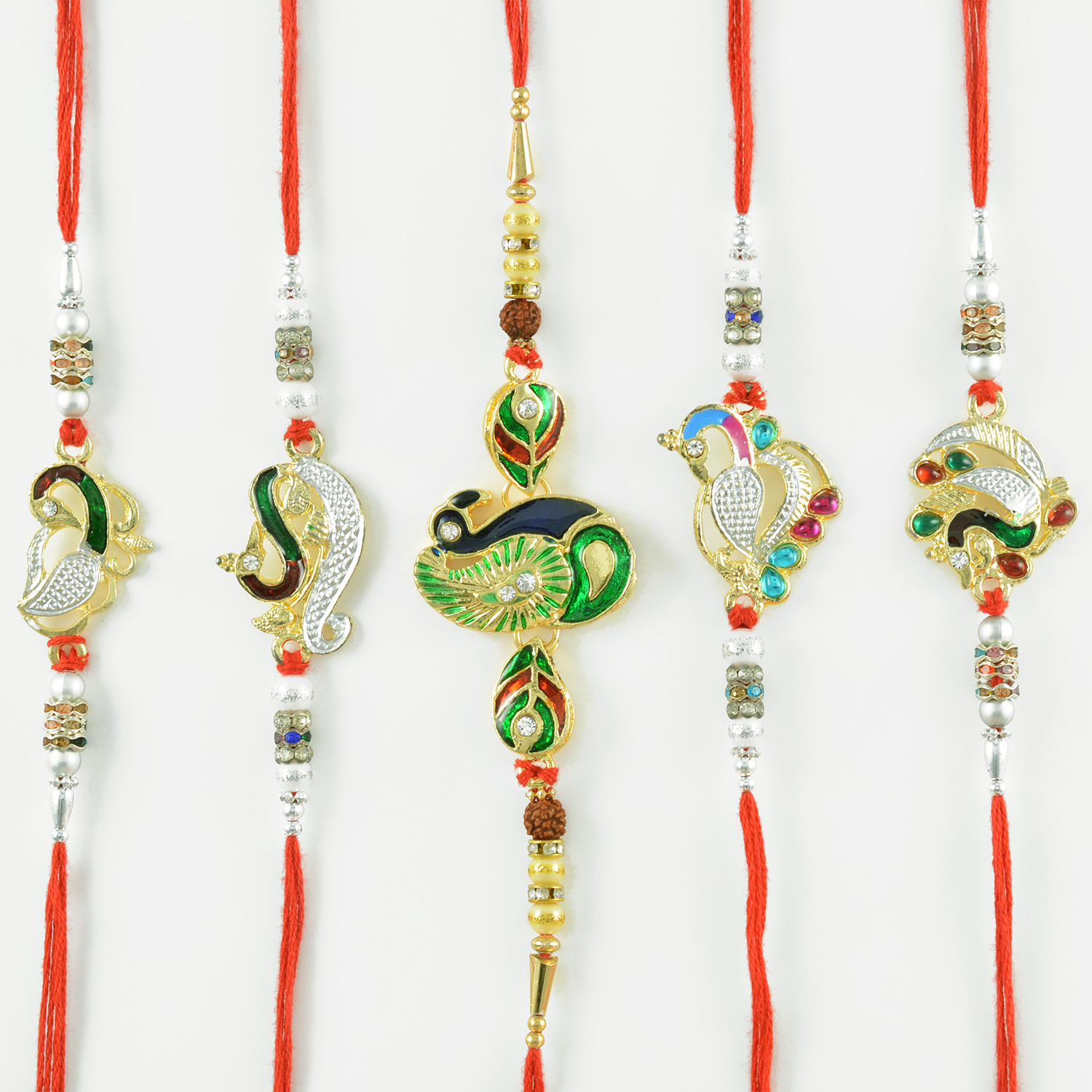 Rare Diamond Studded Peacock Handmade Rakhi Set