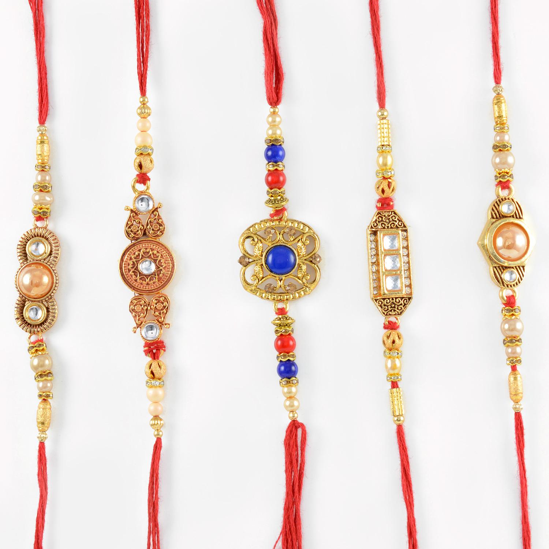 Delightful Beads and Pearl Rakhi Set of 5