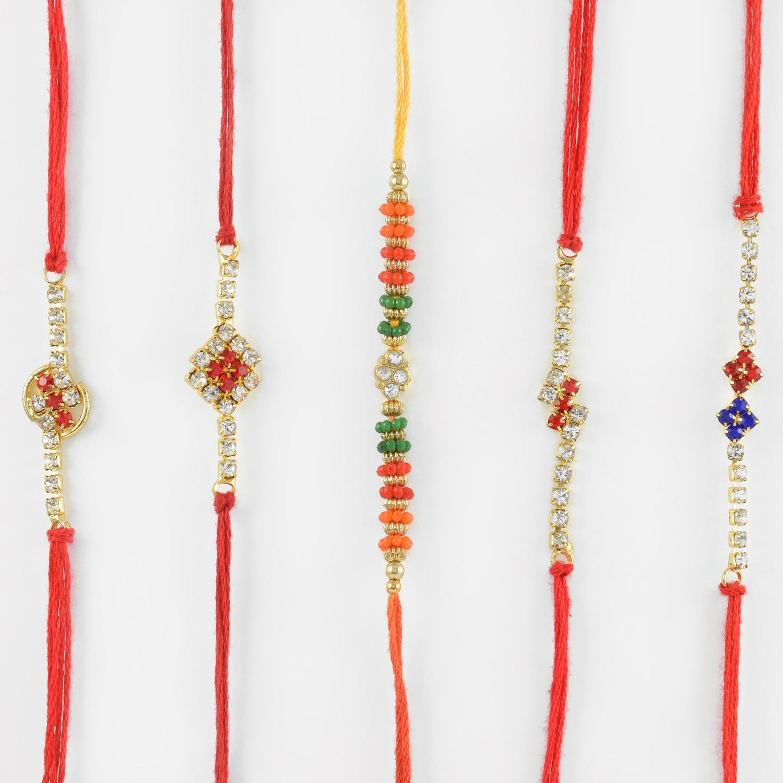 Shiny Diamond Studded Rakhis with Mauli Thread Set of 5 Rakhis