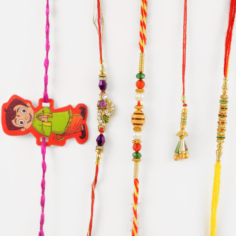 Magnificient Beads and Diamond Rakhi Set of 5 with Chhota Bheem Rakhi for Kids