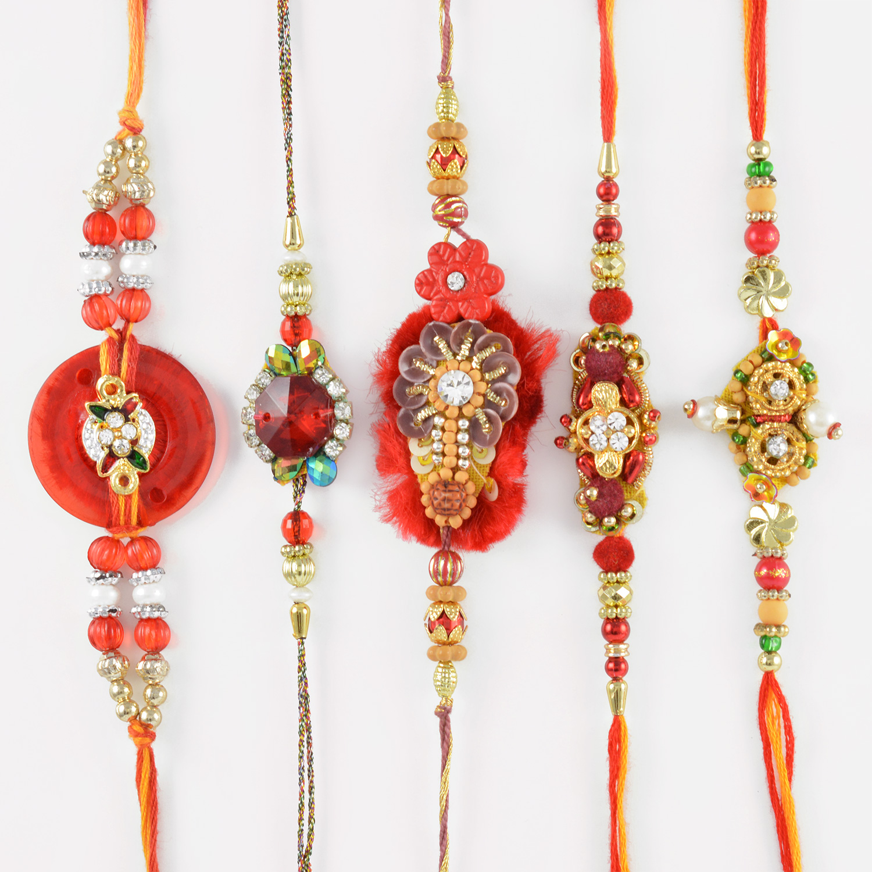 Ruby Kundan Meena with Gota Work Set of Five Rakhis