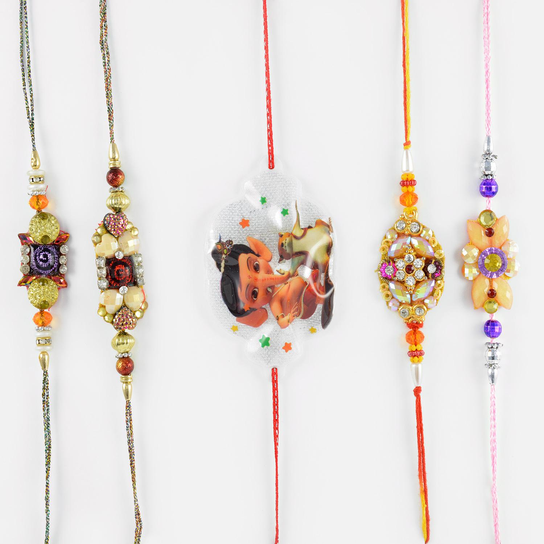 Beads and Diamonds Everywhere Rakhi Set of 5 with Ganesha Kids Rakhi