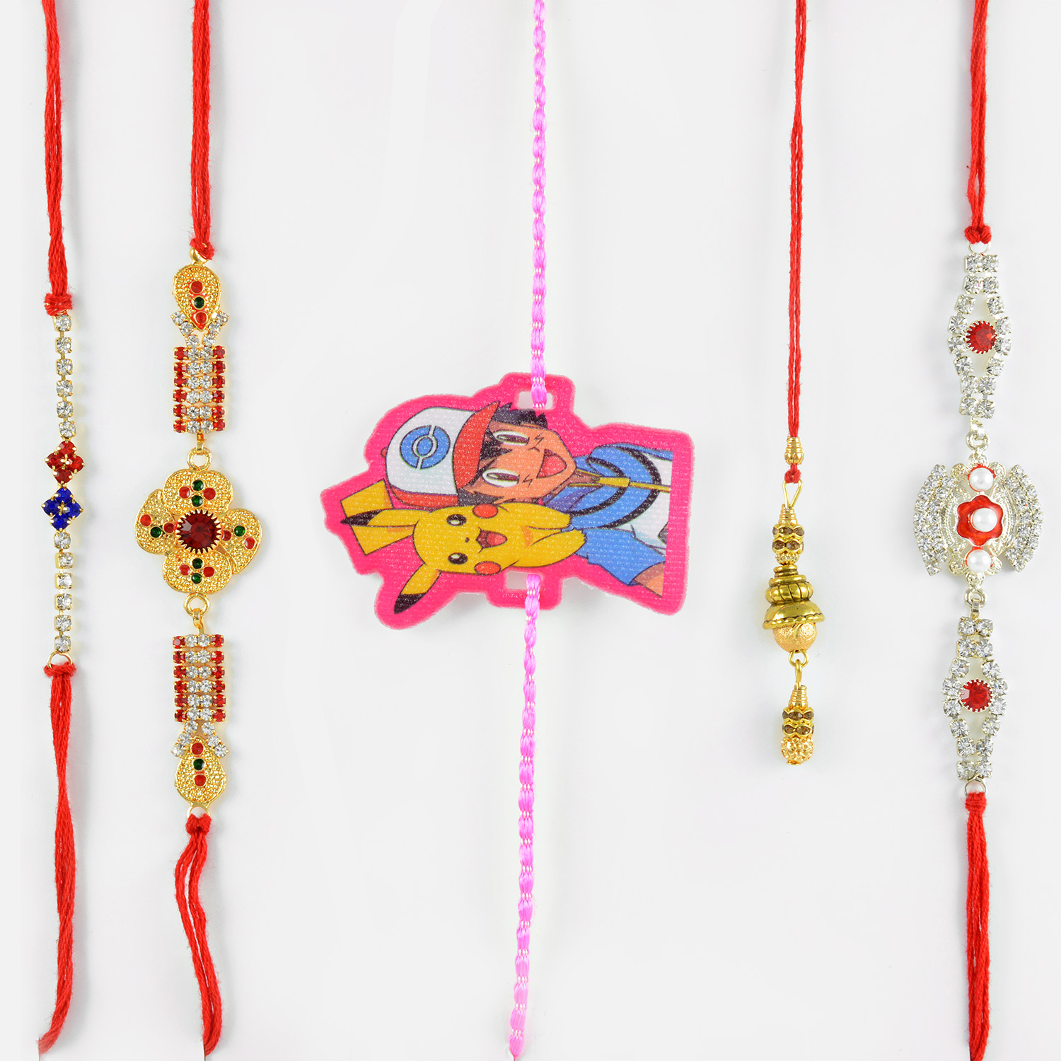 Lustrous Silver and Gold Set of 5 Rakhis