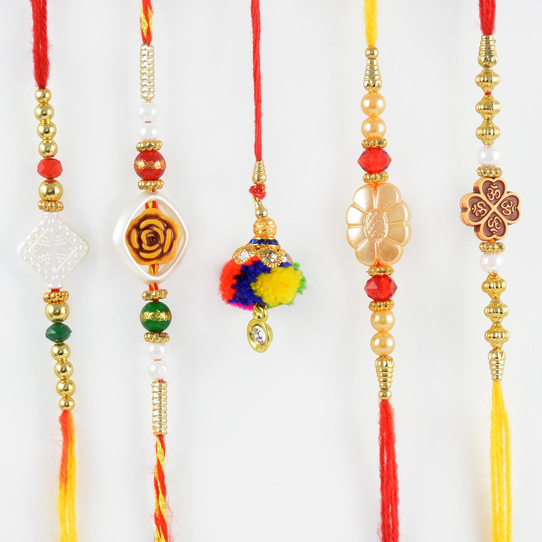Traditional Lumba Rakhi with Four Beautiful Bhaiya Rakhi Set of 5