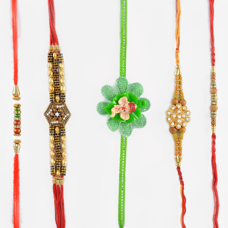 Marvelous Ganesha Flower Rakhi with Sandalwood Beads Rakhi Set of 5