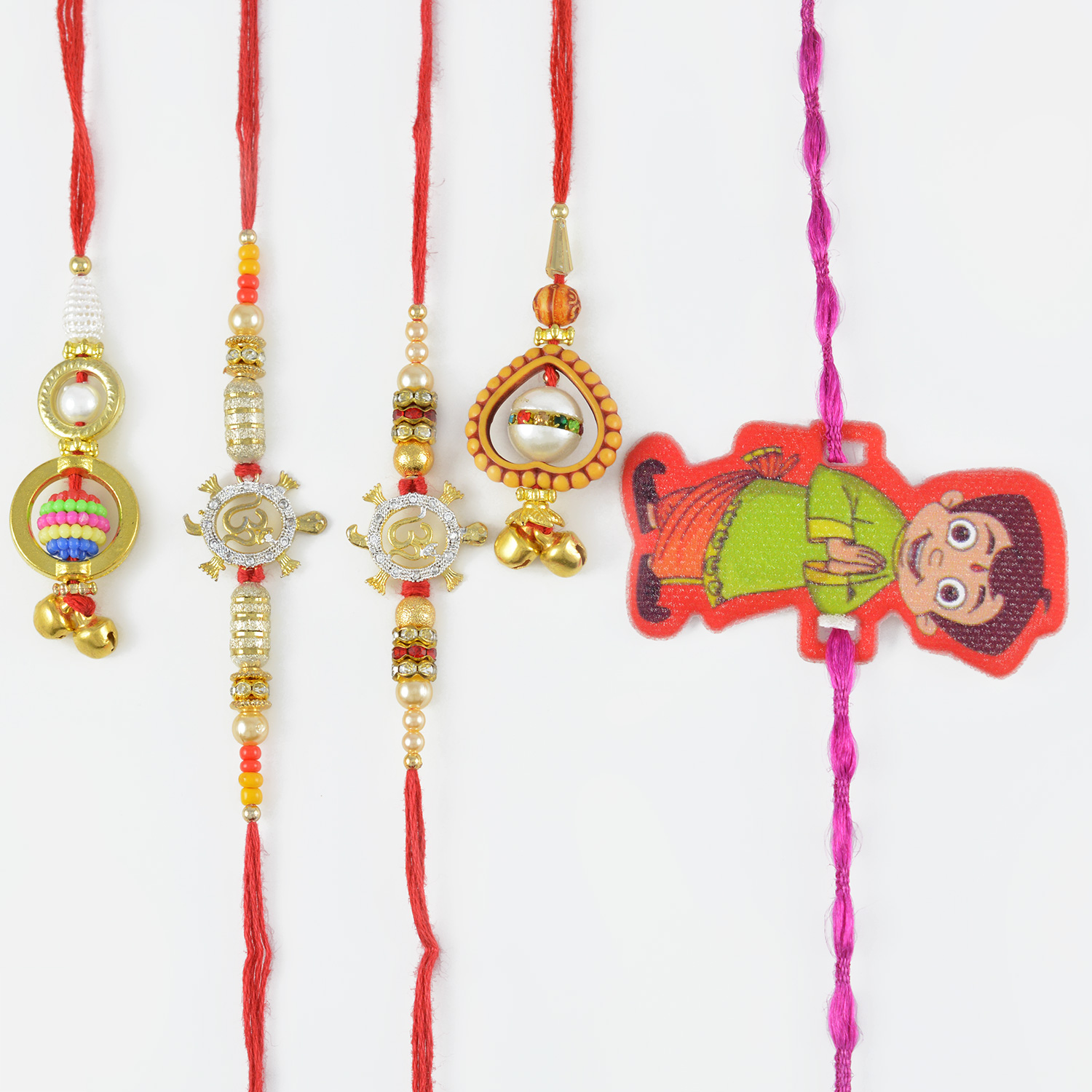 Two Lumba and Two Rakhi Set With a Kid Rakhi