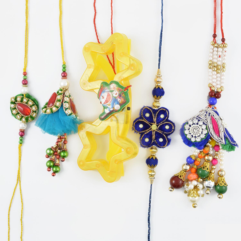 Astonishing Floral Shape Bahiya-Babhi Rakhi Set of Five