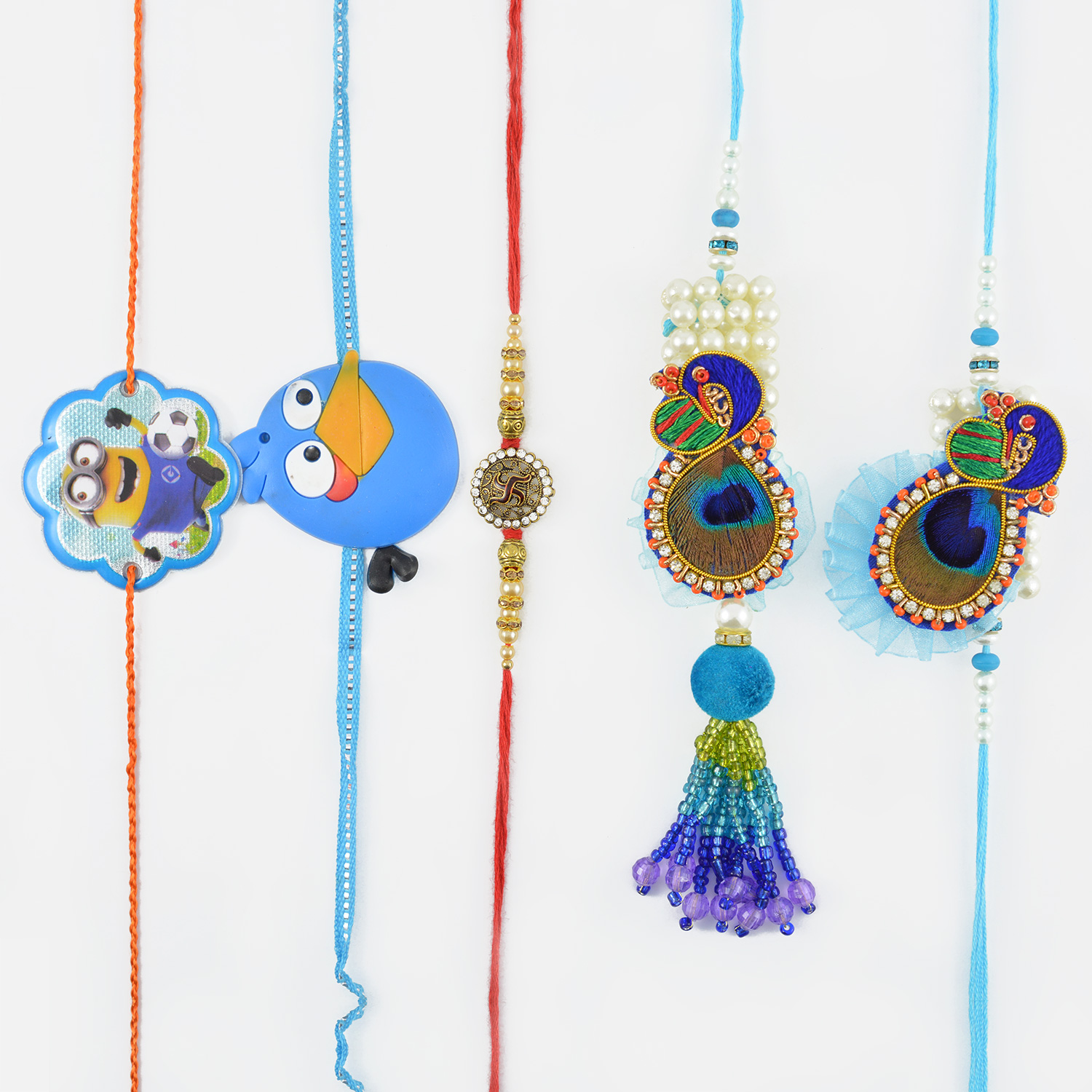 Elegant  Peacock Design Set of Five Rakhi
