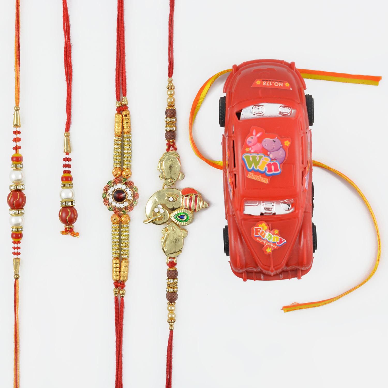 Golden Ganesha And Floral Shap Rakhi Set with Kids Rakhis
